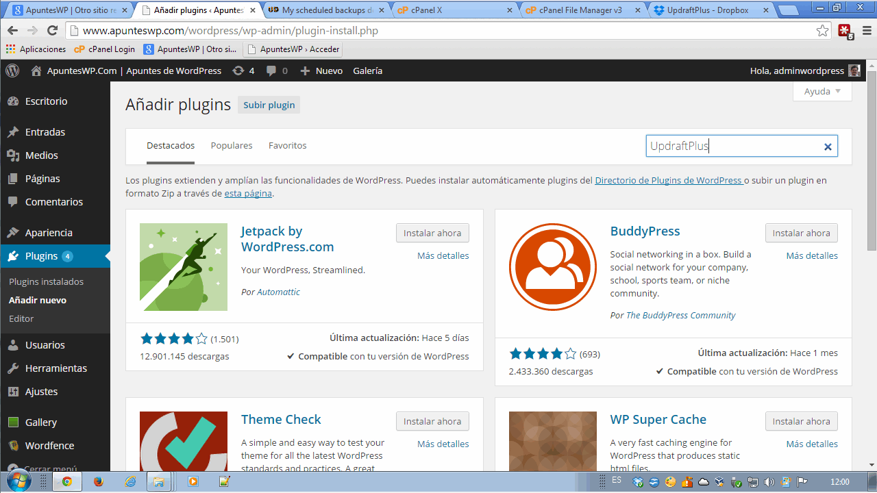 WordPress-Plugin: UpdraftPlus Backup Restore -