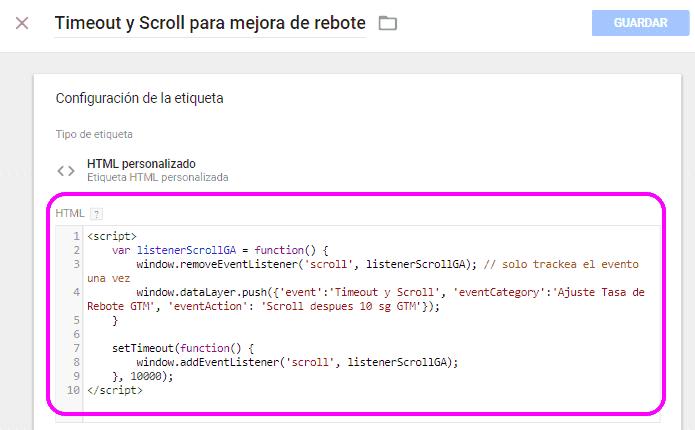 Código de la etiqueta de tipo HTML personalizado