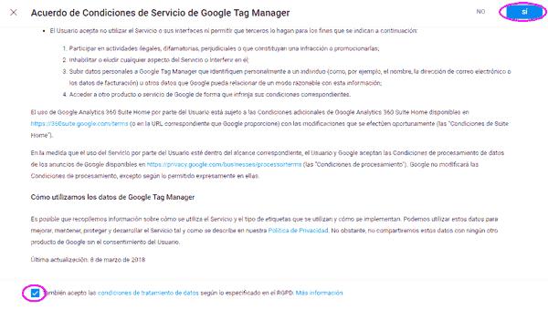 Condiciones de uso de Google Tag Manager