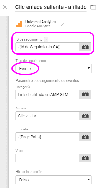 Configuración de la etiqueta de clics en enlaces salientes de afiliado para AMP