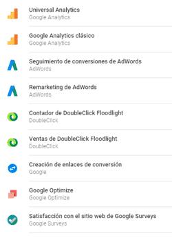 Etiquetas principales de Google Tag Manager