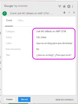 Revisar el evento en Tag Assistant